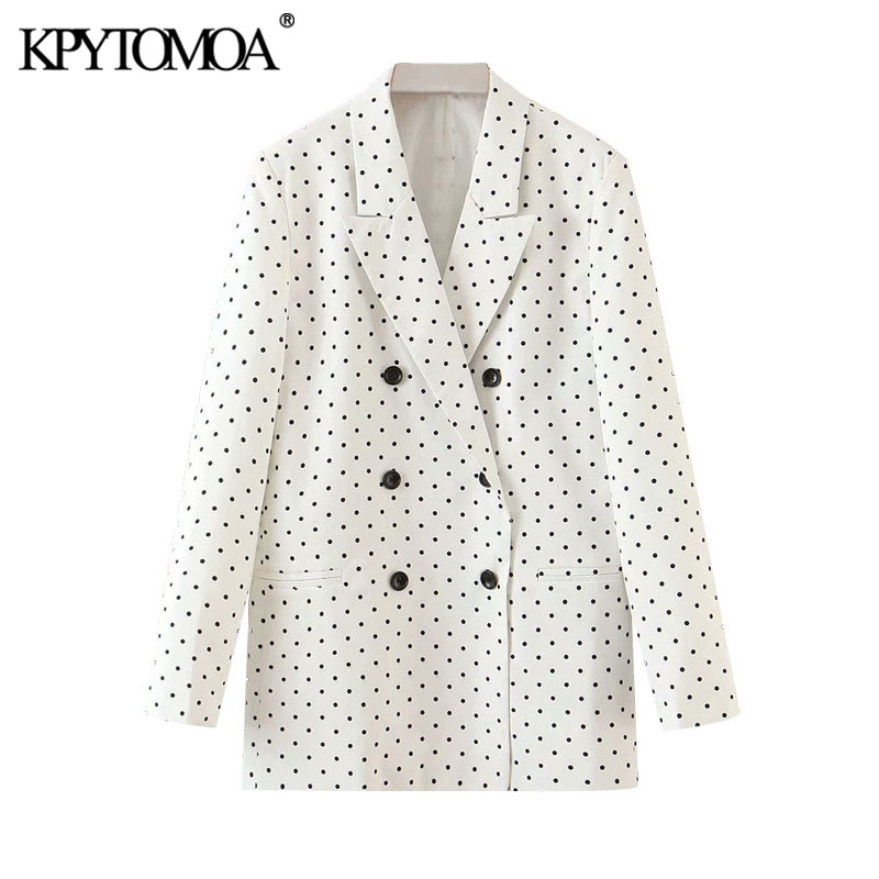 KPYTOMOA Women 2020 Fashion Polka Dot Double Breasted Blazers Coat Vintage Long Sleeve Office Wear Female Outerwear Chic Tops