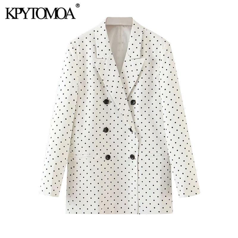 KPYTOMOA Women 2020 Fashion Polka Dot Double Breasted Blazers Coat Vintage Long Sleeve Office Wear Female Outerwear Chic Tops