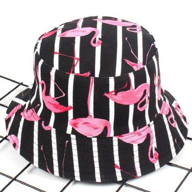 Chapeau seau en coton imprimé pour femmes   Flamand rose, seau en coton, oiseau imprimé, Panama Sports, pêche pêcheur chapeau de soleil réversible, Bob hommes