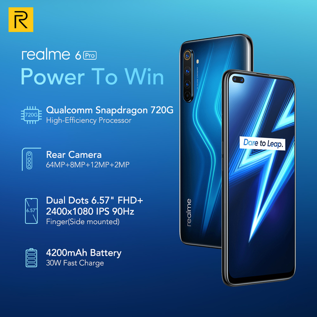 Realme 6 Pro Mobile Phone 6.6inch 90Hz Display 64MP Camra 8GB 128GB Snapdragon 720G Smartphone 4300mAh Battery 30W Flash Charge 4