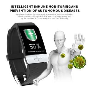 Image 2 - 2020 Fitness Tracker T1s EKG + PPG Körper Temperatur Wasserdicht Heart Rate Monitor Smart Band Wetter Prognose Smart Armband Sport
