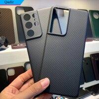 Qadir-funda de teléfono de fibra de carbono para Samsung Galaxy S21 Ultra, ultrafina, 600D, proceso de líneas finas, NOTE 20