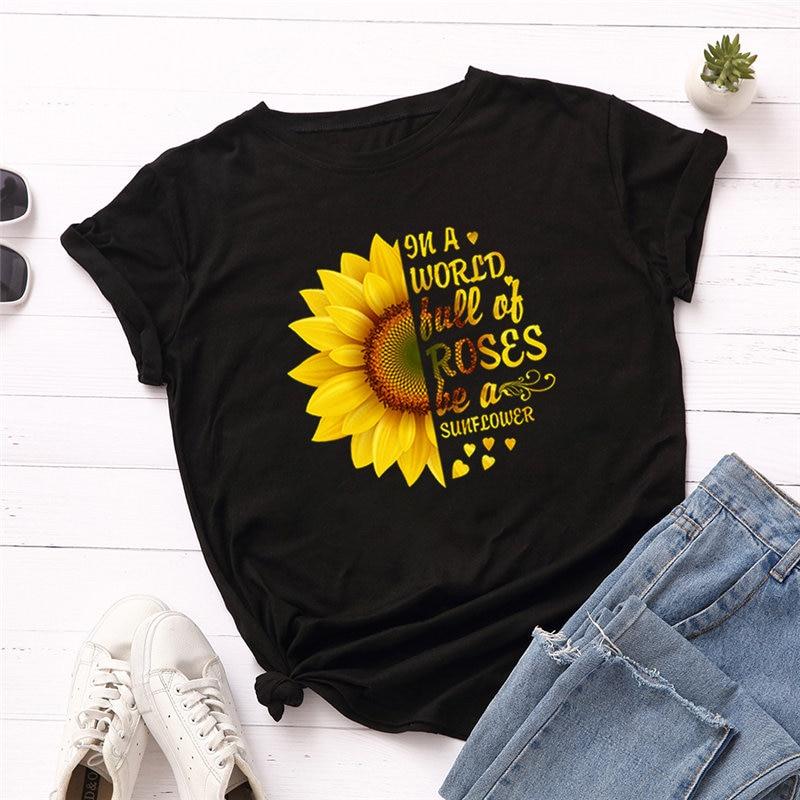 2019 Fashion Plus Size Women T-shirt 100% Cotton Tees Sunflower Lerrtrs Printed T-Shirt Women O-Neck Short Sleeve Tshirt Top