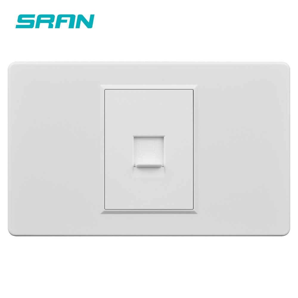 Sran RJ45 Soket dengan Mutiara Putih Kaca Kristal Panel 118 Mm X 72 Mm Internet Outlet