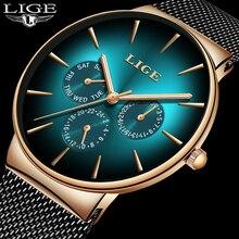 2019LIGE мужские часы Топ бренд Роскошные спортивные часы из сетчатой стали Дата Неделя водонепроницаемые кварцевые часы мужские часы Изумрудный цвет