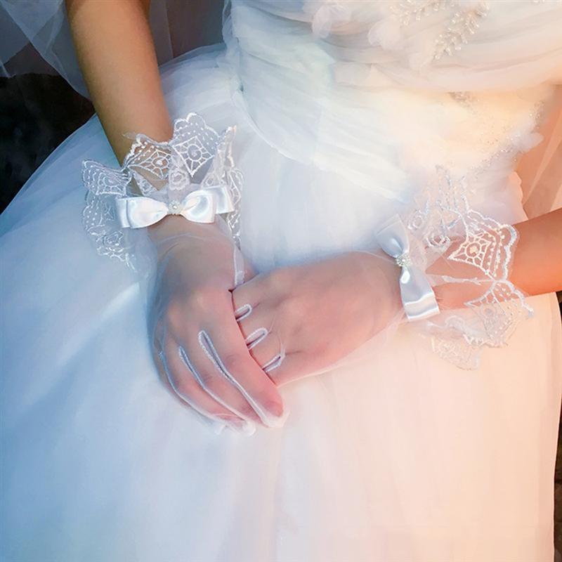 White Short Wedding Gloves Women Bridal Gloves Elegant White Lace Gloves For Bridal Wedding Accessories