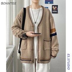 Hommes Cardigan simple boutonnage rayé à manches longues décontracté ample tout-match Ulzzang étudiants hommes chandails tricoté coréen Streetwear