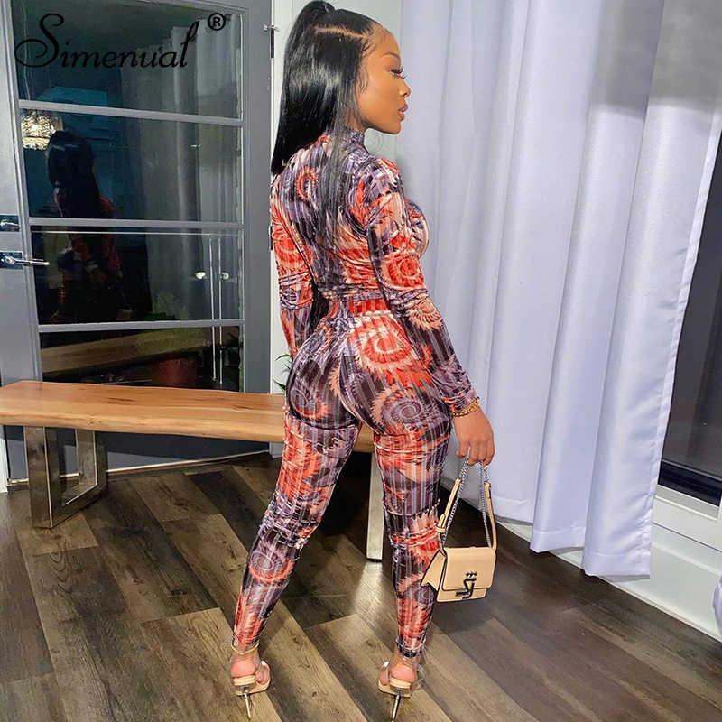 Simenual Print Fluwelen Fitness Vrouwen Bijpassende Sets Mode 2020 Lente Toevallige Tweedelige Outfits Lange Mouwen Top En Broek Set nieuwe