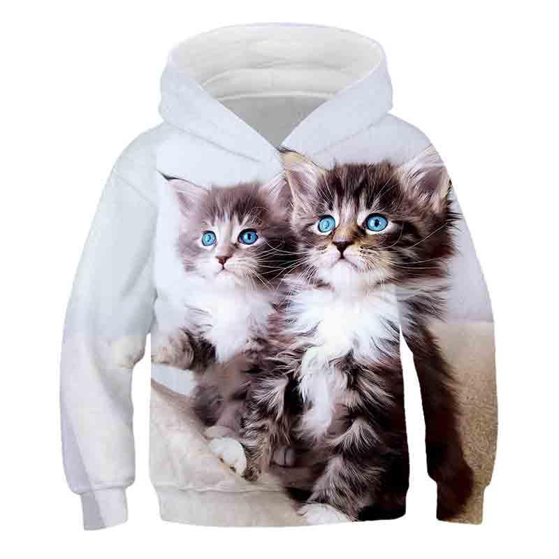 Outono dois gato 3d bebê meninos roupas kawaii gato hoodies para meninas adolescentes camisolas pulôver crianças topos bolso camisola sudaderas