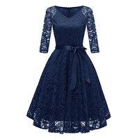 4 # hueco vestidos de encaje de las mujeres Vintage princesa Floral de encaje de cuello en V fiesta Aline vestido de Color sólido traje de baño Bata