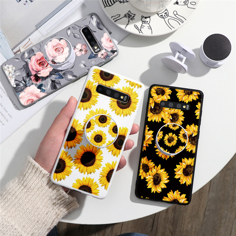 Luxury Flower Foldable <font><b>Phone</b></font> Stand <font><b>Case</b></font> For <font><b>Samsung</b></font> Galaxy <font><b>A5</b></font> A7 J2 J3 J5 J7 Prime <font><b>2016</b></font> 2017 A8 A9 A6 J4 J6 Plus 2018 TPU Cover image