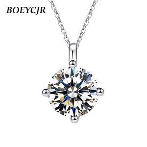 BOEYCJR 925 серебро 1ct/2ct F цвет моиссанит снег цветок VVS элегантный свадебный кулон ожерелье для женщин Подарок на годовщину