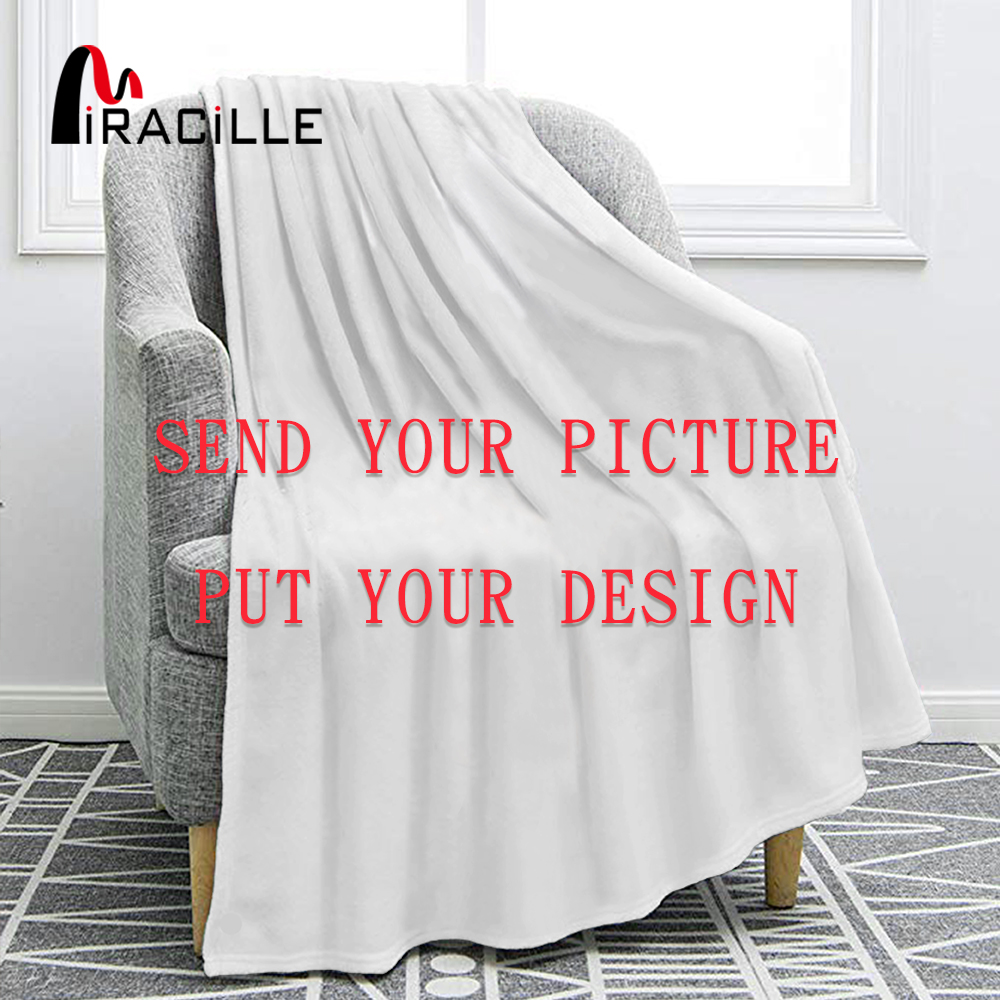Miracille  Customized Flannel Blanket Plush Personalized Blankets For Beds Custom Drop Shipping For Kid
