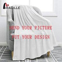 Miracilleที่กำหนดเองFlannelผ้าห่มส่วนบุคคลผ้าห่มสำหรับเตียงPOD Custom DIYบางผ้านวมโซฟาDrop Shipping