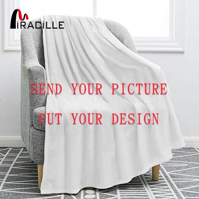 Miracille özelleştirilmiş flanel battaniye peluş kişiselleştirilmiş battaniye yataklar için POD özel DIY ince yorgan kanepe kılıfı damla nakliye