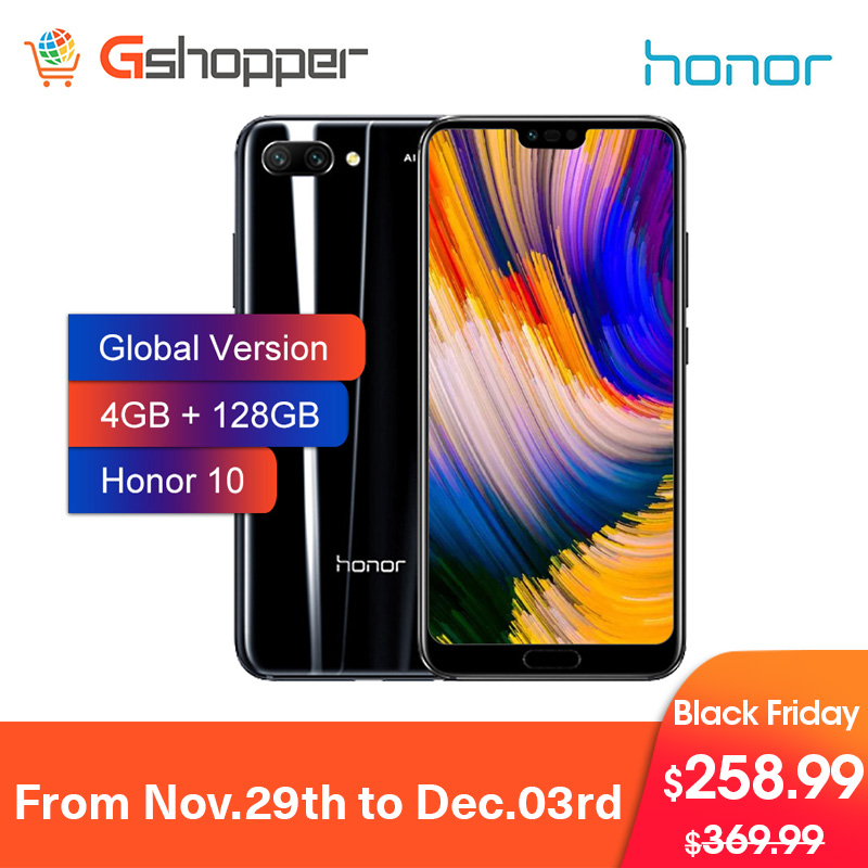 Global version Honor 10 Cell Phone 4GB 128GB 24MP Octa Core Mobile Phone Dual Camera Face ID NFC android 8.1 3400mAh