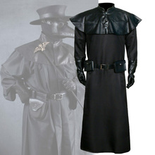 Takerlama Plague Doctor Costume Medieval Steampunk Black Robe Gothic Gown Halloween Masquerade Long Beak Bird Cosplay Outfit
