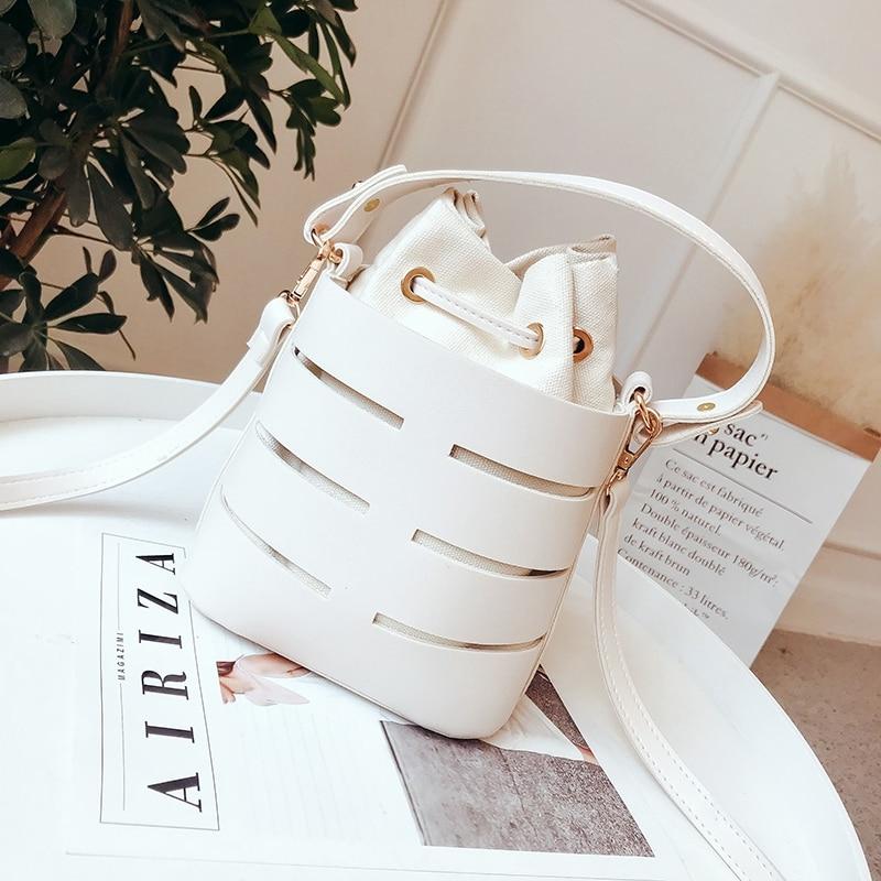 Drawstring Bucket Bag For Women Mini Pu Leather Crossbody Bags Ladies Shoulder Bags Female Handbags Pure Color(White)