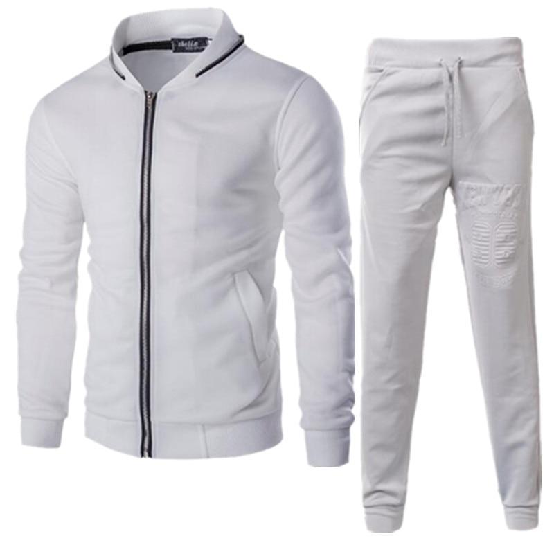 Marque hommes ensemble mode veste à glissière + pantalon deux pièces ensemble tenues pour homme Sweat costume vêtements Sportwear décontracté hommes survêtement