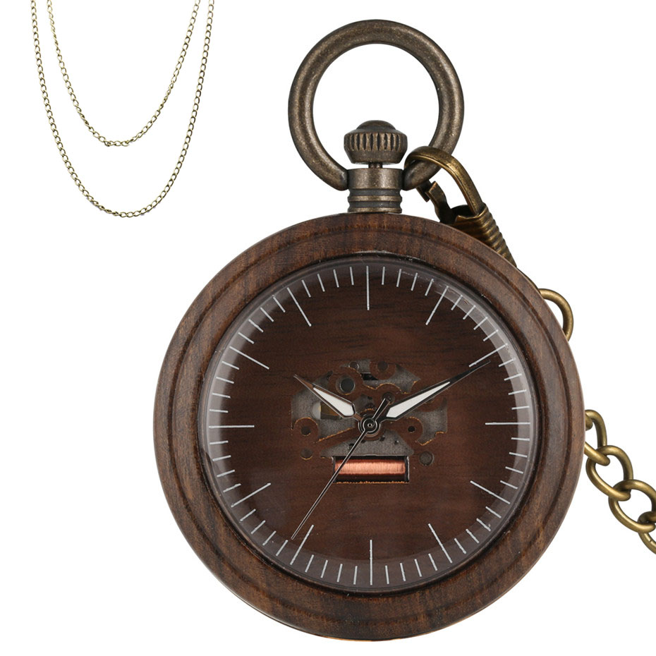 Luxury Coffee Brown Wooden Case Quartz Pocket Watch Creative Engraving Hollow Dial Stylish Retro Pendant Clock With Chains