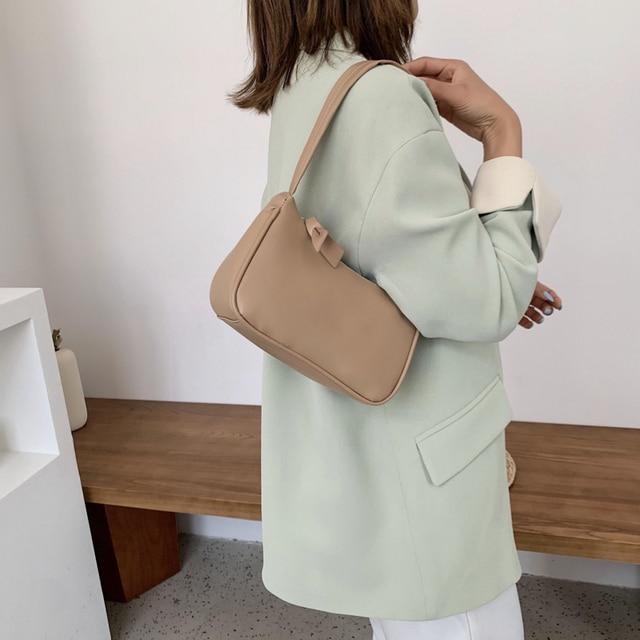 Leather Women Purple Underarm Bag  5
