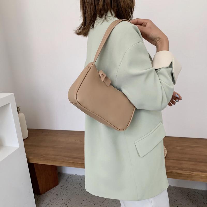 Weiche PU Leder Frauen lila Achsel Tasche Retro einfarbig Damen - Handtaschen - Foto 5