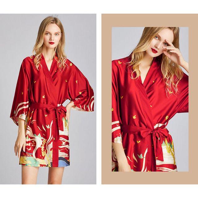 Women's Imitation Silk Kimono Belted Bathrobe
