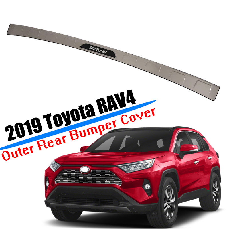 Stainless steel Car Rear Bumper Sill Guard Protector Trim Cover Sticker Plate For Toyota <font><b>RAV4</b></font> 2019 <font><b>2020</b></font> Car Accessoires image