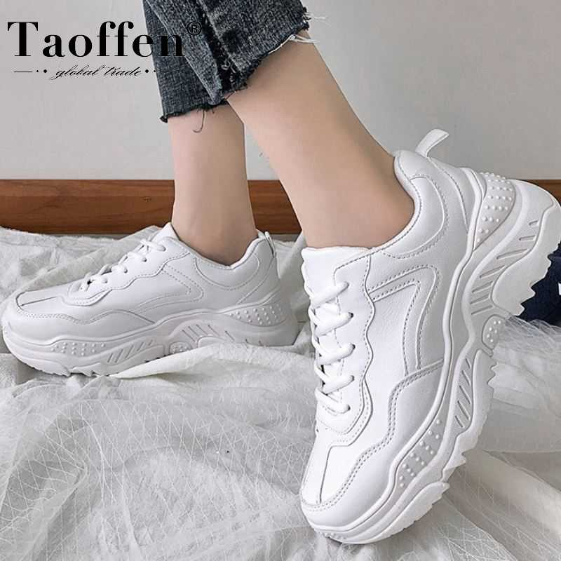 Taoffen New Arrival Women Sneakers Vulcanized Shoes Women Fashion Lace Up Thick Sole Breathable Shoes Size 35-43