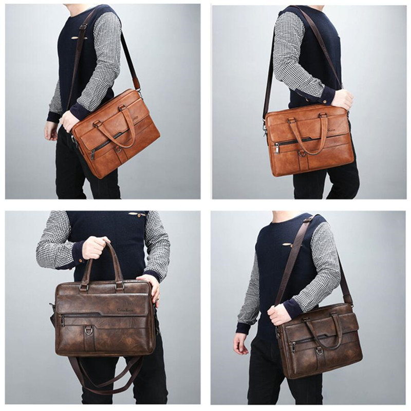 Celinv Koilm Men's Business Handbag Hot Large Capacity Leather Briefcase Bags For Man 13.3 inches Laptop Work Travel Bag Black
