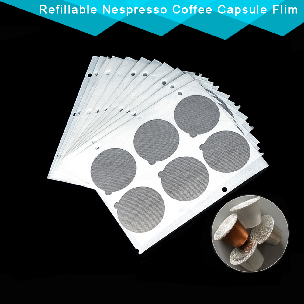2000PC Refillable Nespresso Coffee Capsule Flim Sticker Refilling Stainless Steel Capsule Self Adhesive Aluminum Foil Brewer Lid(China)