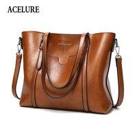 ACELURE женская сумка с масляным воском, женские кожаные сумки, роскошные дамские ручные сумки с карманом, женская сумка-мессенджер, большая су...