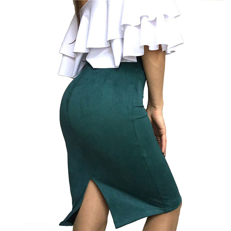 Sexy Multi Color Suede Midi Pencil Skirt Women Fashion Elastic High Waist Office Lady Bodycon Skirts Saias