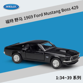 Welly 1:36 1969 Ford Mustang Boss 429 alloy car model pull-back vehicle Collect gifts Non-remote control type transport toy image
