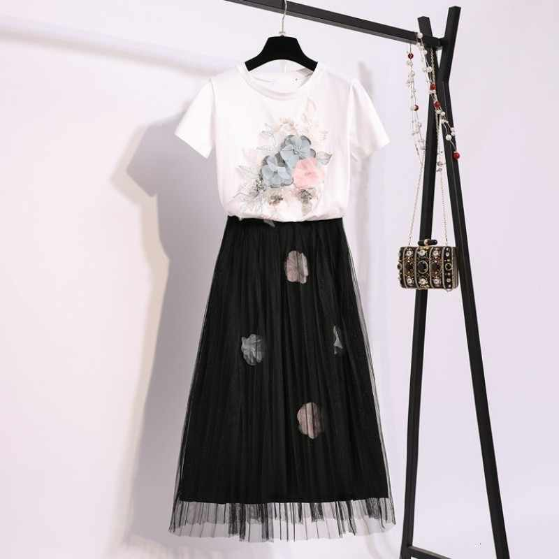 2020 letnia nowa gaza długa spódnica damski zestaw dwuczęściowy kwiat Splice garnitur casual Streetwear stroje ubrania dziewczyna T-shirt zestaw spódnic