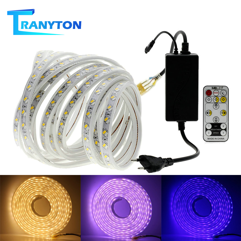 LED Strip 220V SMD 5050 60LEDs/M 5630 120LEDs/M Waterproof Warm White RGB Flexible Light Strip Diode Neon Ribbon With Power Plug