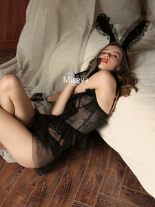 Image 5 - Sexy Nachthemden Kant Nachthemd Trouwjurk Open Back Leuke Ondergoed Zwart V hals Nachtkleding Lingerie voor Vrouwen Zomer