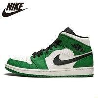 Zapatillas de baloncesto Nike Air Jordan 1 Mid Aj1 para hombre  zapatillas cómodas de color verde blanco para exteriores  zapatillas deportivas # BQ6931 301 Calzado de baloncesto     -