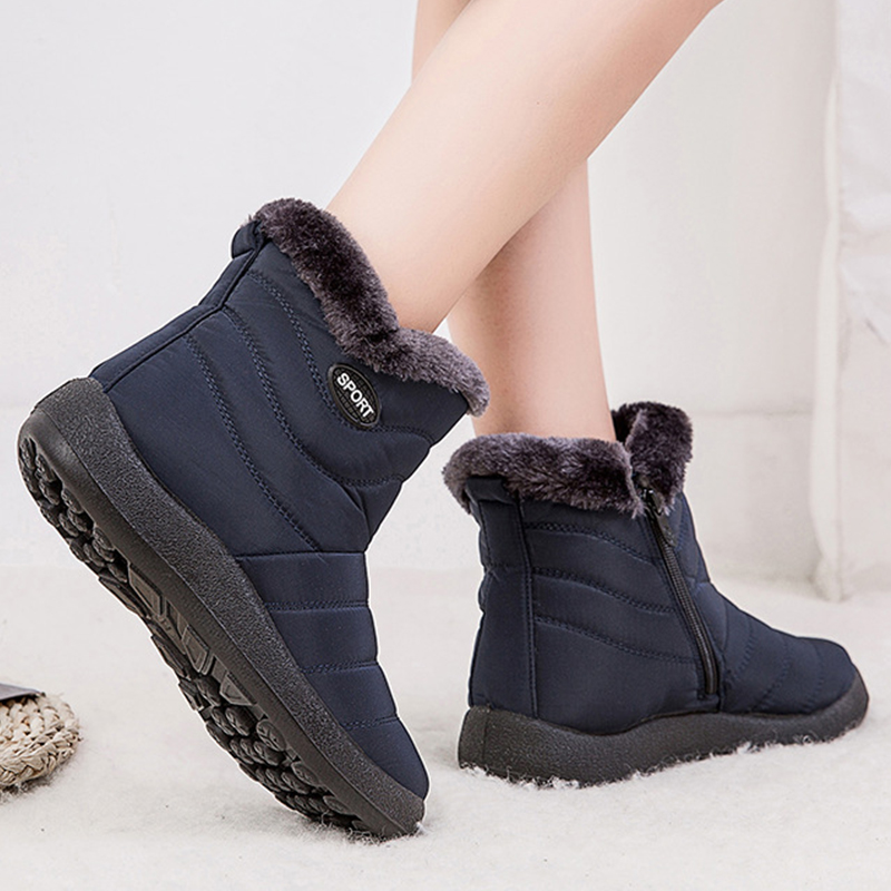 2019 Winter Women Shoes Waterproof Ankle Boots Plush Warm Shoes Woman Trainers Shoes Rubber Boots For Women Chaussure Femme 27
