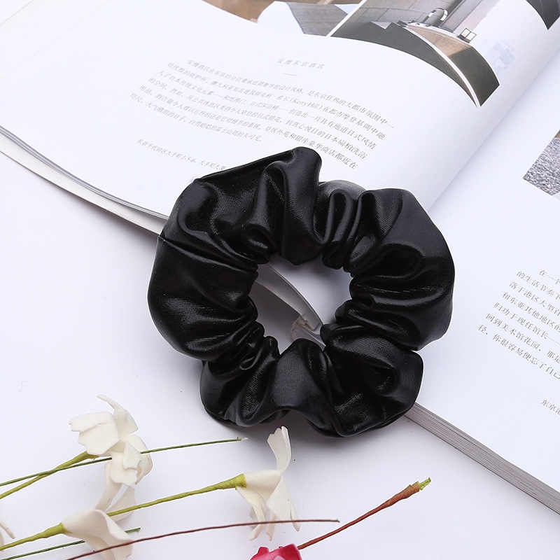 Women Pu Faux Leather Elastic Hair Ties Girls Hairband Rope Ponytail Holder Scrunchie Gold Black Headbands Accessories 2019