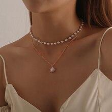 De la cadena de moda collar de perlas para mujeres Perla Barroca abalorio de Metal colgantes collares de gargantilla de cadena de cuentas de joyería regalos