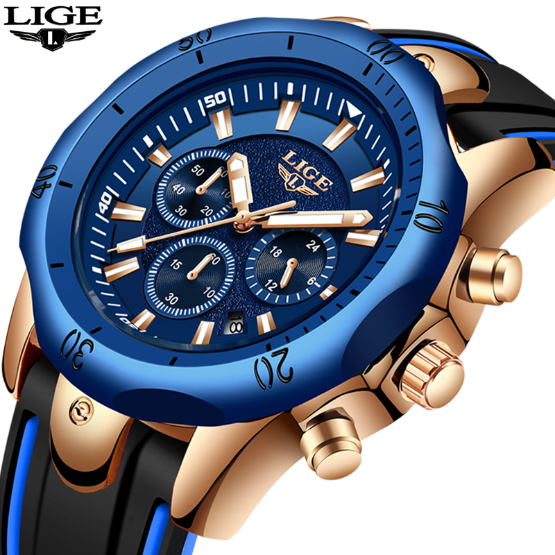LIGE Mens Watches Top Brand Luxury Silicone Waterproof Watch Men Casual Fashion Clock Chronograph Quartz Sport Wristwatch Box in Quartz Watches from Watches