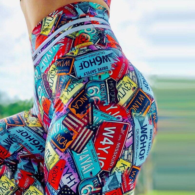 New Arrival Women Leggings Workout For Running High Waist Sport Legging Digital Print Trousers Stretch Fitness Pants Plus Size