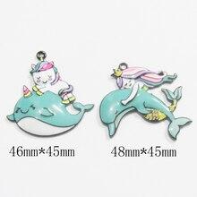 Yeni 10 adet/grup yunus/deniz kızı ve tek boynuzlu at/balina tüm emaye kolye
