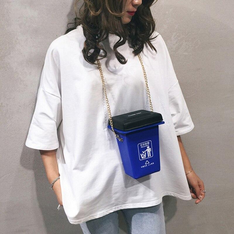 Purse Fashion Garbage Classification Trash Can Bag Female 2019 New PU Chain Bag Single Shoulder Messenger Bag Packet New