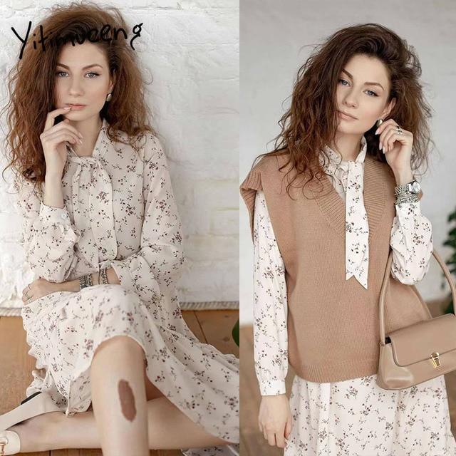 Yitimuceng Vintage Dresses for Women 2021 Spring Floral Print Bow Long Sleeve Black Party Elastic Waist Plus Size Woman Dress 2