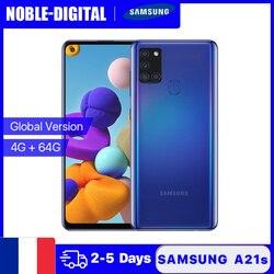 Глобальная версия Samsung Galaxy A21s смартфон, 4 Гб RAM, 64 ГБ ROM, мобильный телефон 6,5 дюймов сенсорный экран 5000 мАч 48MP Quard Автомобильная камера заднего ...