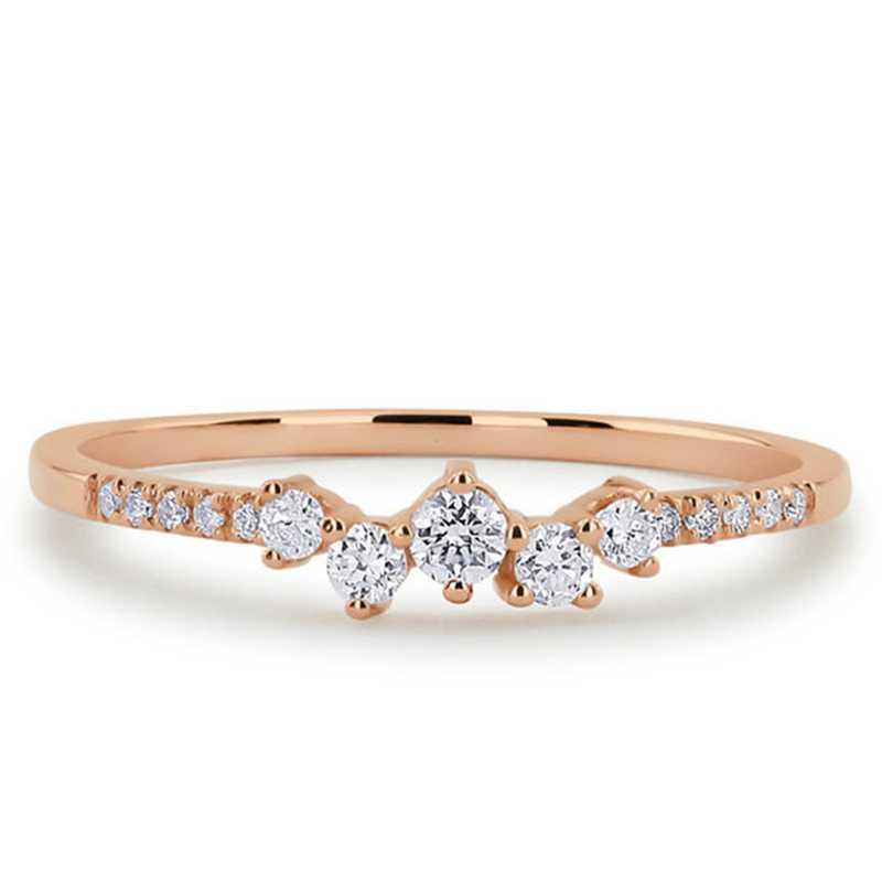 พราวฝังแหวน Zircon คริสตัลแหวนนิ้วมือแหวนงานแต่งงานแหวนหมั้นแหวนเครื่องประดับหญิง