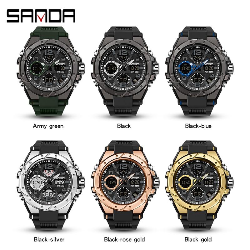 Sport hommes montre haut de gamme numérique pointeur horloge antichoc chronomètre rapport montres 50M étanche hommes montre SANDA heures temps 5