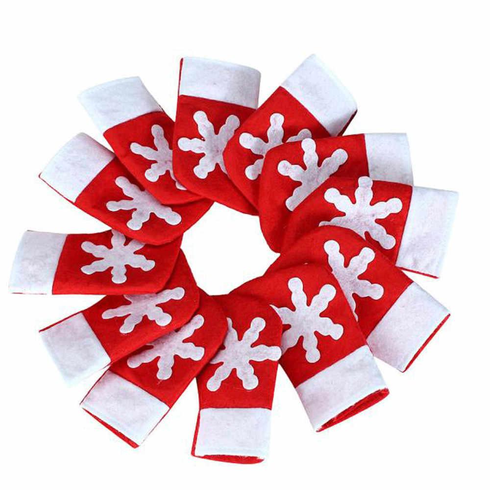 Cubertería de Navidad tenedor cuchara bolsillo calcetines de Navidad decoración vajilla bolsa Navidad Fiesta niños regalos Kerstdecoratie